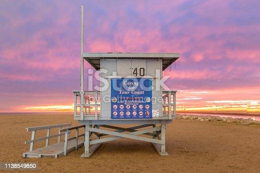 istock Lifeguard Towers - Southern California Beach 1138549850