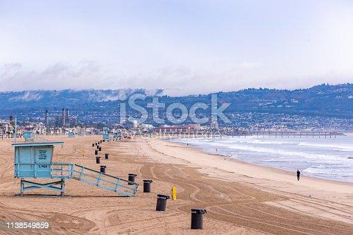 istock Lifeguard Towers - Southern California Beach 1138549859