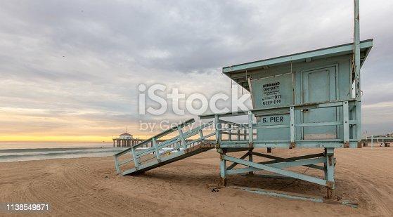 istock Lifeguard Towers - Southern California Beach 1138549871
