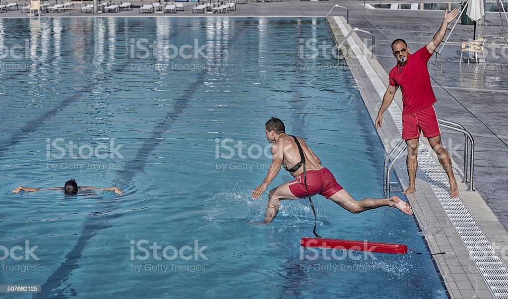 Lifeguard training course stock photo