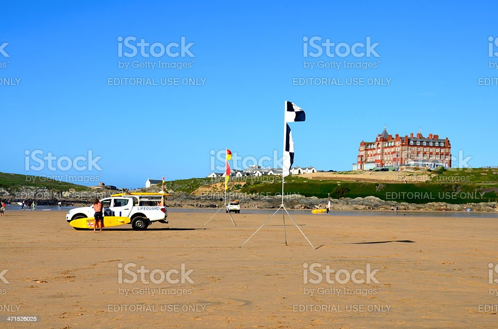 Lifeguard van on Fistral beach, Newquay stock photo