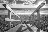 Black and white Beach Lifeguard tower