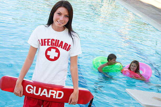 lifeguard with float - gchutka stock pictures, royalty-free photos & images