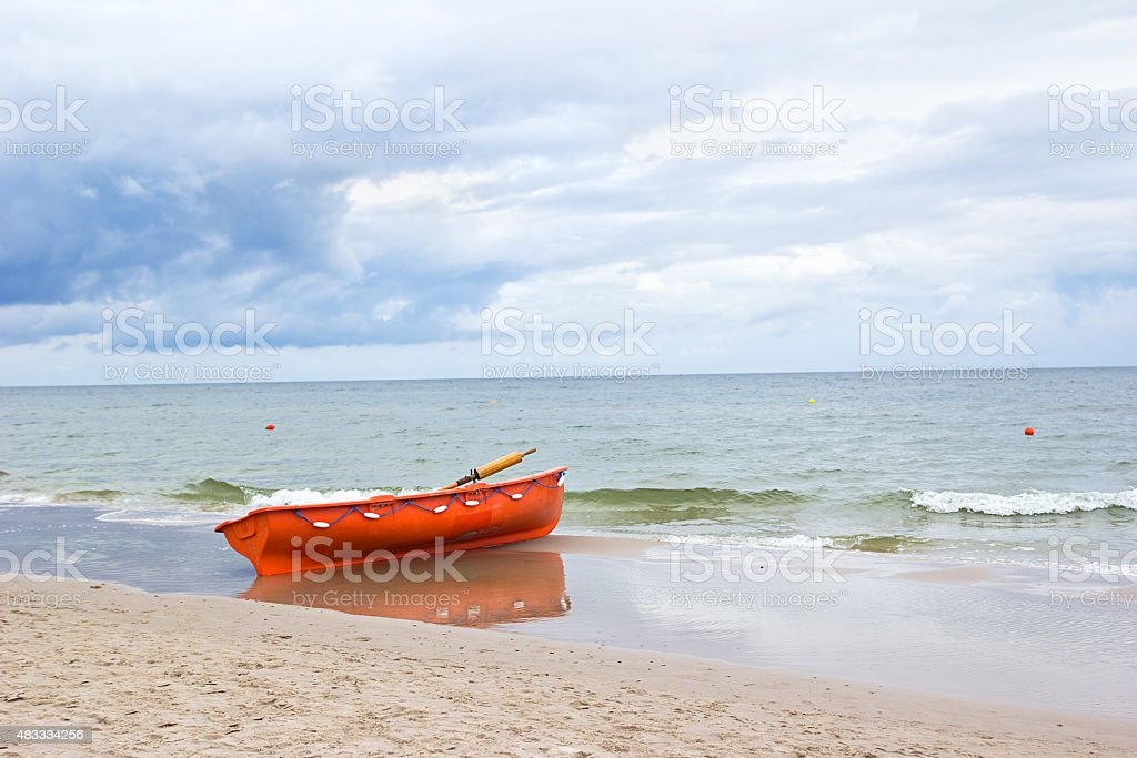 lifeguard's boat stock photo