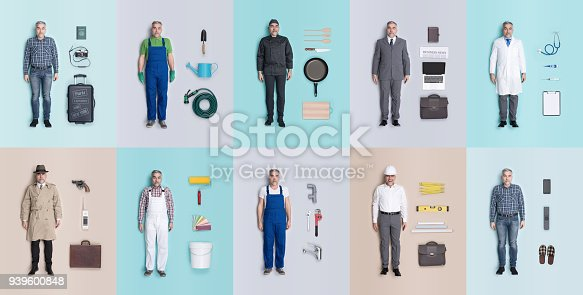 Lifelike male human dolls collection with different outfits and jobs: doctor, businessman, engineer, repairman, painter, gardener, detective