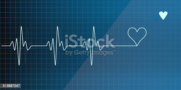 Lifeline in an electrocardiogram with a heart  symbol at the end
