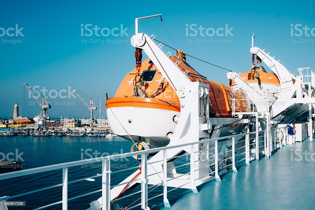 Liferaft save lives during an accident at sea stock photo