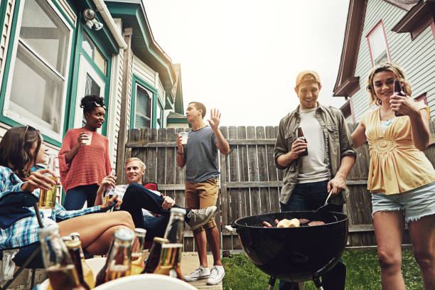 Life's greatest pleasures - friends and food stock photo