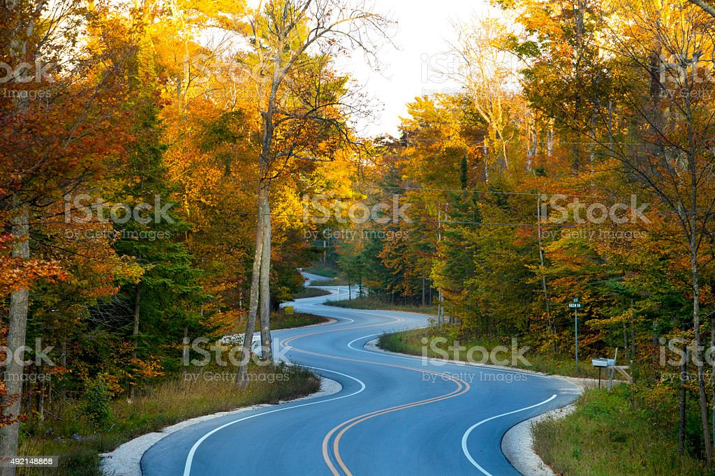 Lifes Journeyfull of curves on this long winding road. stock photo