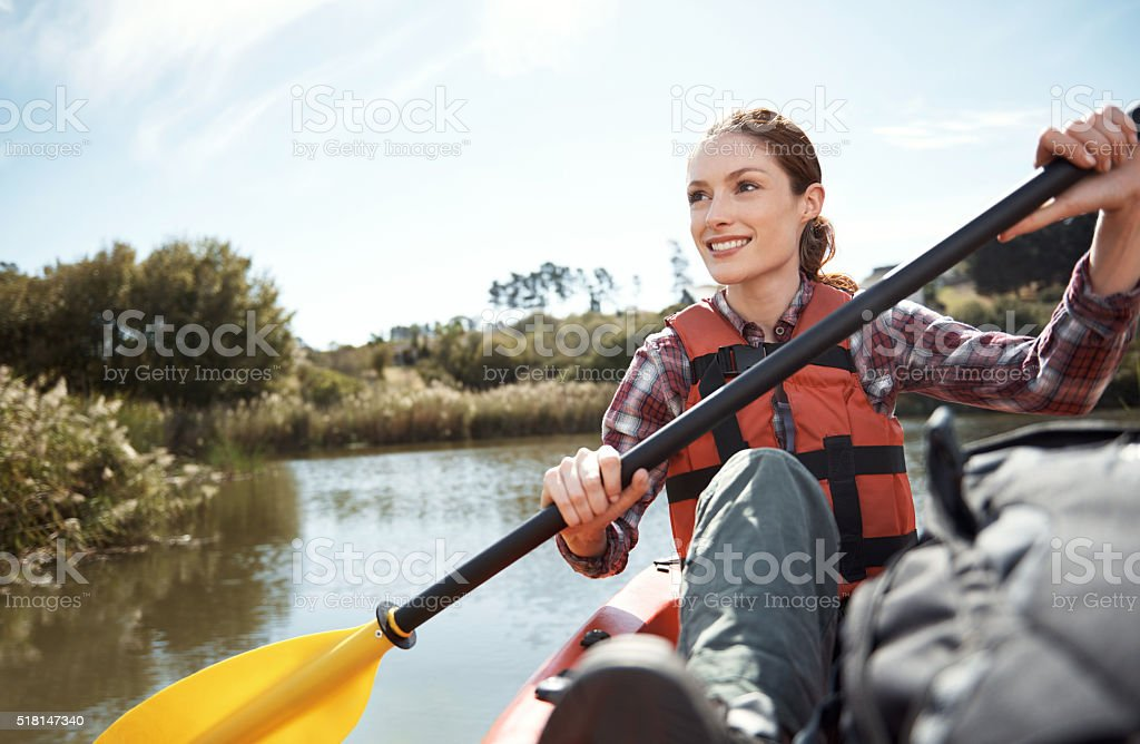 Life's just better on a kayak! stock photo