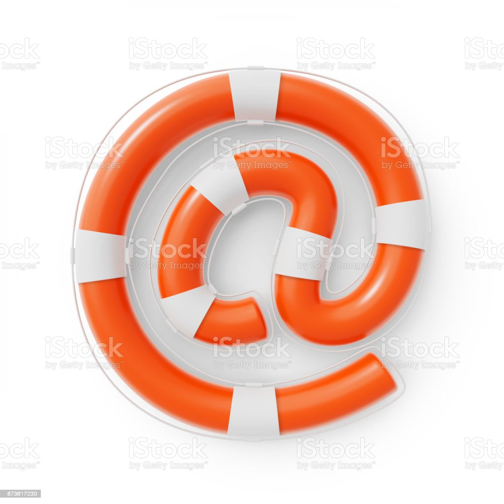 Lifesaver Buoy shaped as an Email At Sign stock photo