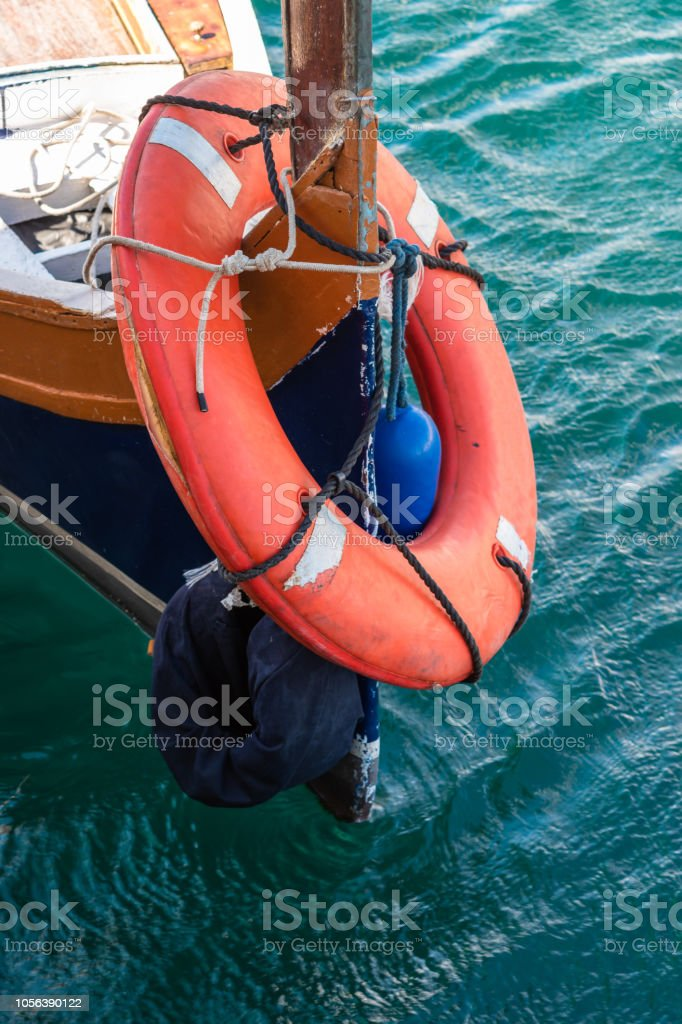 Lifesaver on a boat stock photo