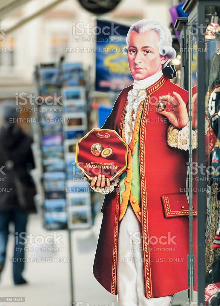 Lifesize Mozart in Salzburg Advertising Mozartkugeln Confectionary stock photo