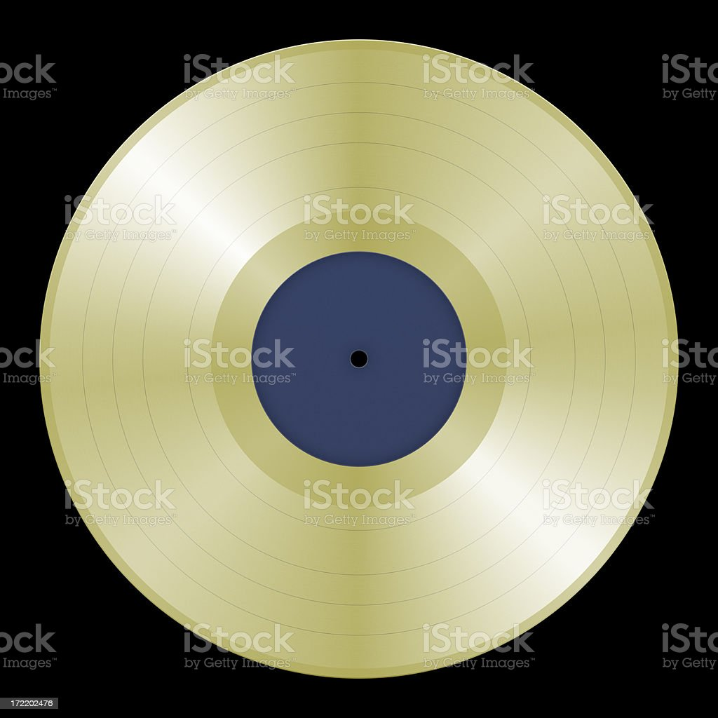 Lifesized Gold Record on Black (with 2 Clipping Paths) stock photo