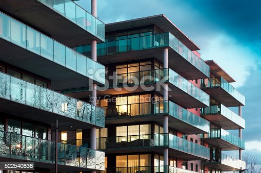 Balconies of a modern luxury apartments with a blue sky