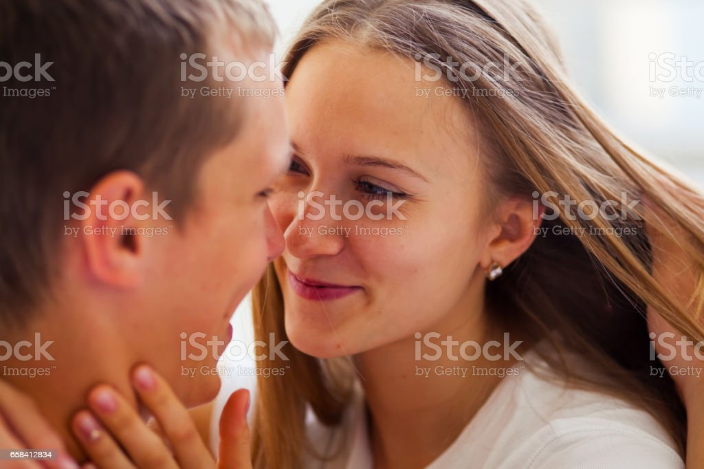 Lifestyle. Beautiful couple in bed stock photo