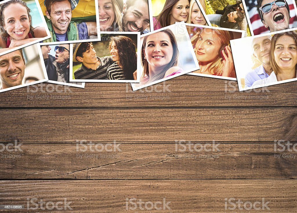 lifestyle collage of postcard on the wood stock photo