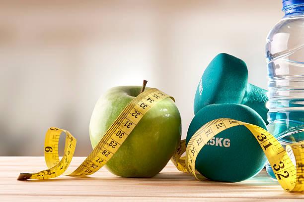 Dieta vida saúde e esporte de ginástica fundo Vista frontal - foto de acervo