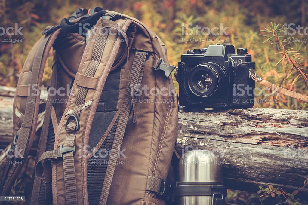 Lifestyle hiking camping equipment outdoor stock photo