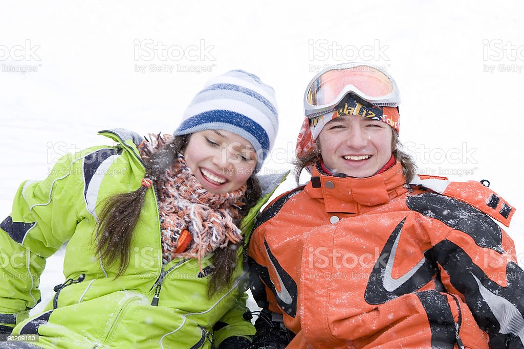 lifestyle image of two young a snowboarders royalty-free stock photo