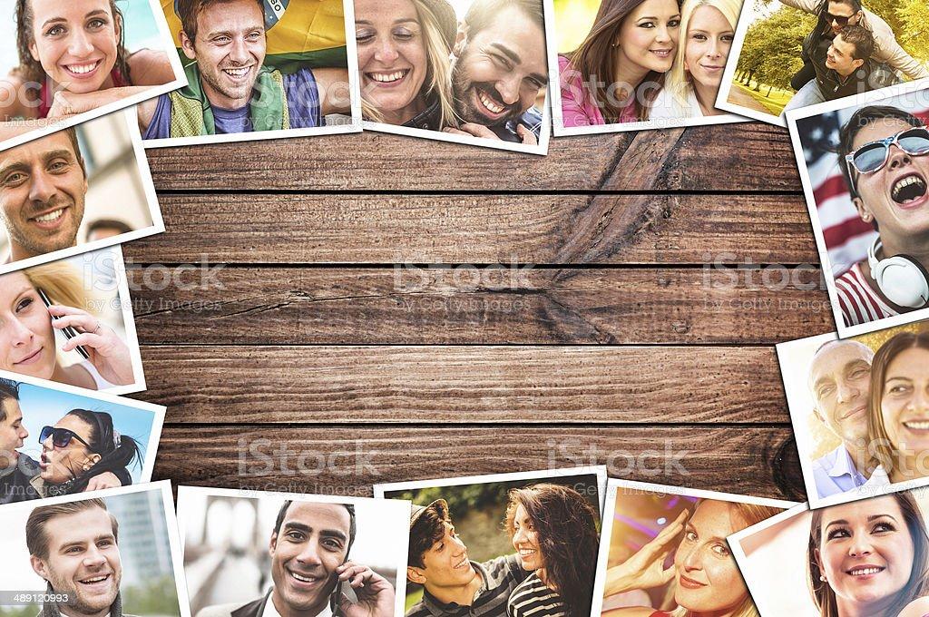 lifestyle montage on plank wood stock photo