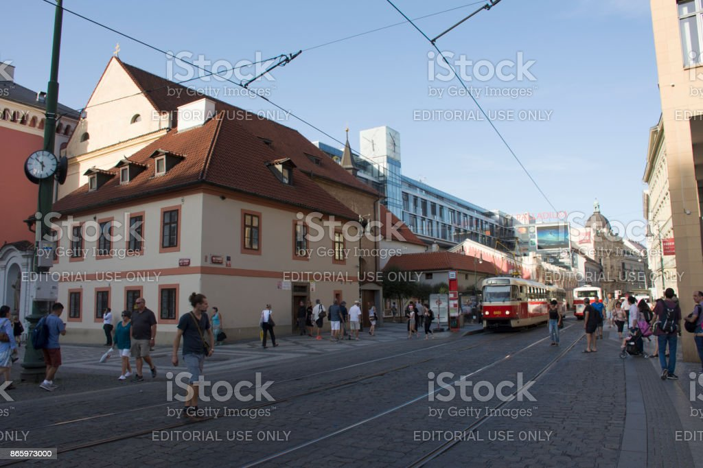 Lifestyle of czechia people and foreigner travelers walking with traffic tramway stock photo