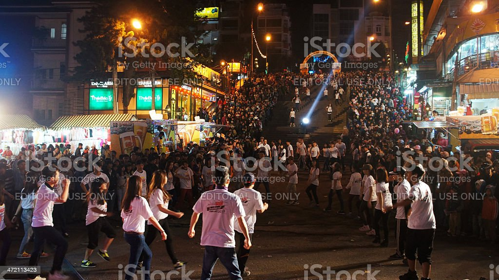 Lifestyle of young people, dance team at outdoor night royalty-free stock photo