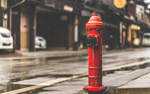 Lifestyle Photos Red Fire Hydrant In Tokyo, Japan ; January 18, 2018 fire hydrant stock pictures, royalty-free photos & images
