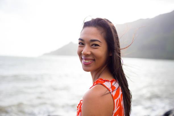 Lifestyle Portrait in Oahu Hawaii stock photo