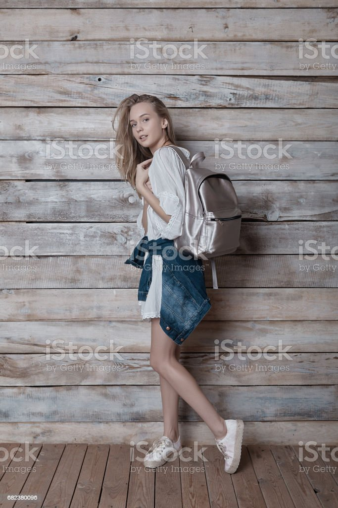 Lifestyle portrait of young pretty woman royalty-free stock photo