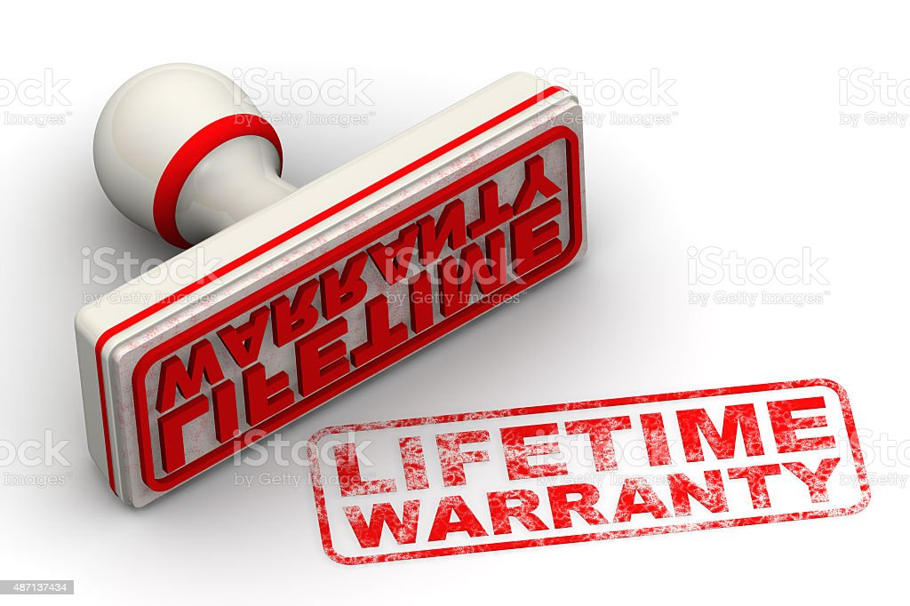 Lifetime warranty. Seal and imprint stock photo