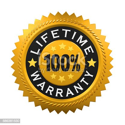 istock Lifetime Warranty Sign 586381530