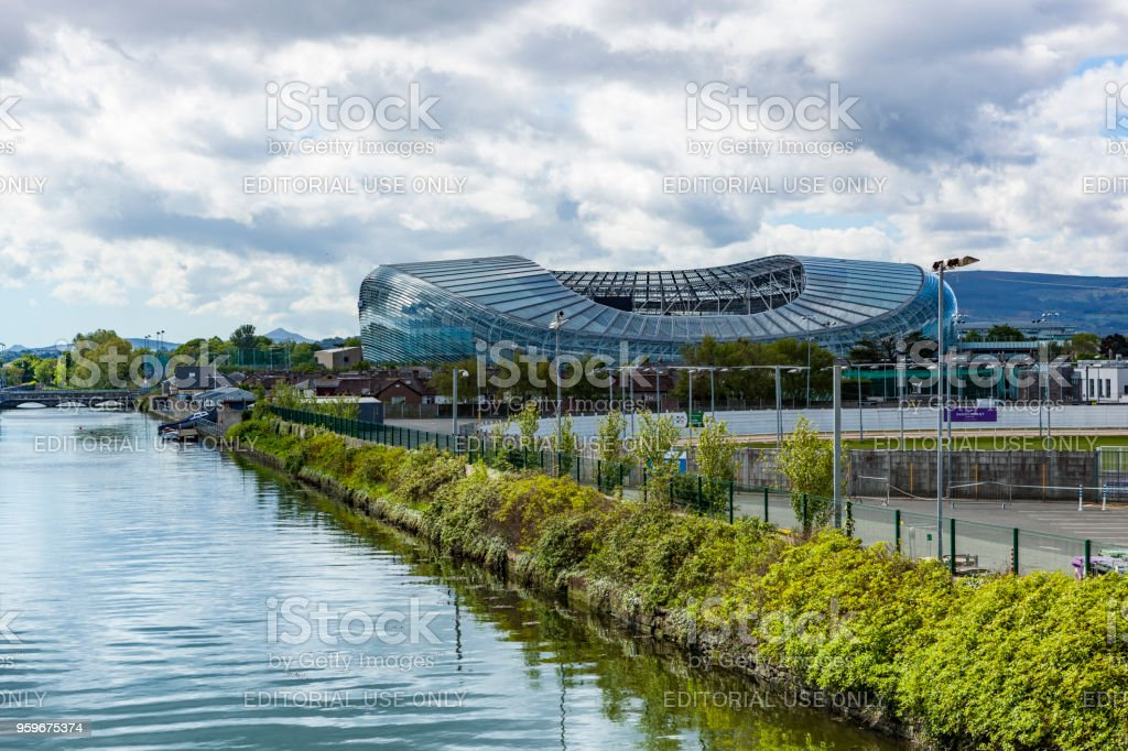 liffey river and aviva stadium in dublin, ireland stock photo