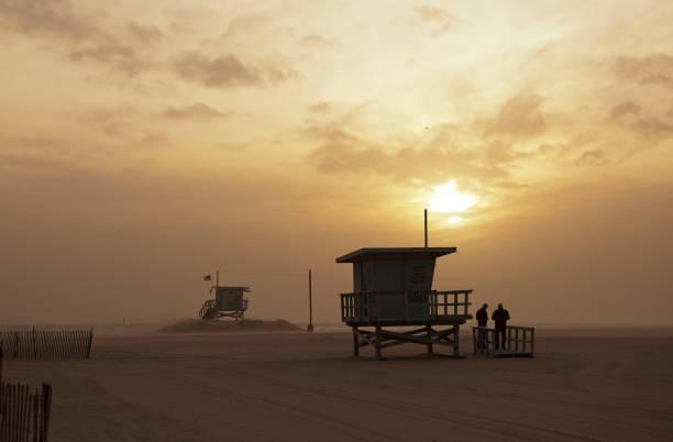 Lifguard shacks, Santa Monica Beach stock photo