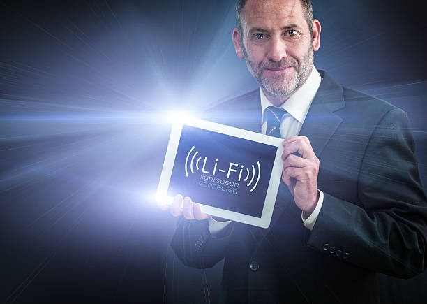 li-fi / light fidelity high speed wireless connection - wave icon stock photos and pictures
