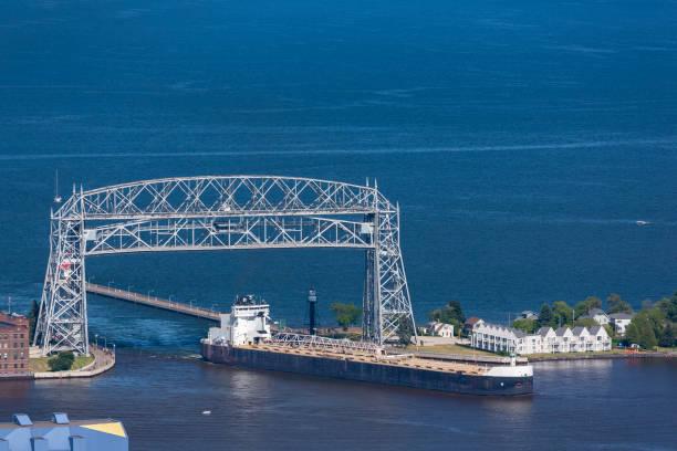 A Lift Bridge and A Ship stock photo