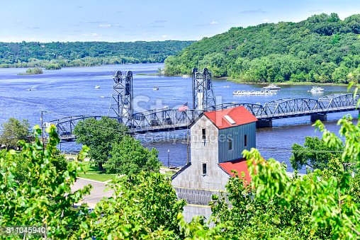 Lift Bridge on St. Croix River from Above  in Stillwater, Minnesota