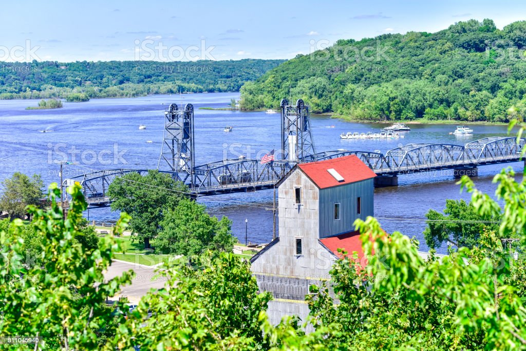Lift Bridge on St. Croix River from Above in Stillwater, Minnesota stock photo