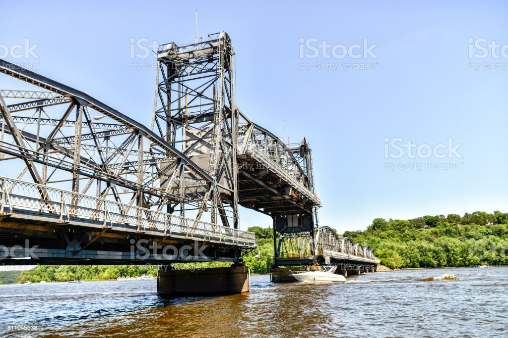 Lift Bridge Rising on St. Croix River in Stillwater, Minnesota stock photo