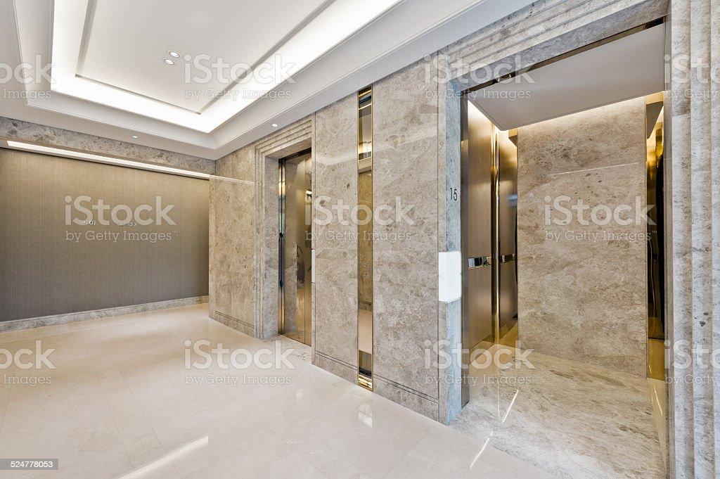 Lift lobby in beautiful marble stock photo