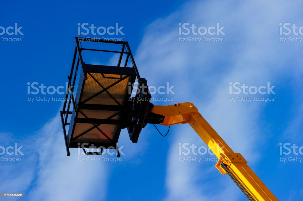 Lift platform with bucket stock photo