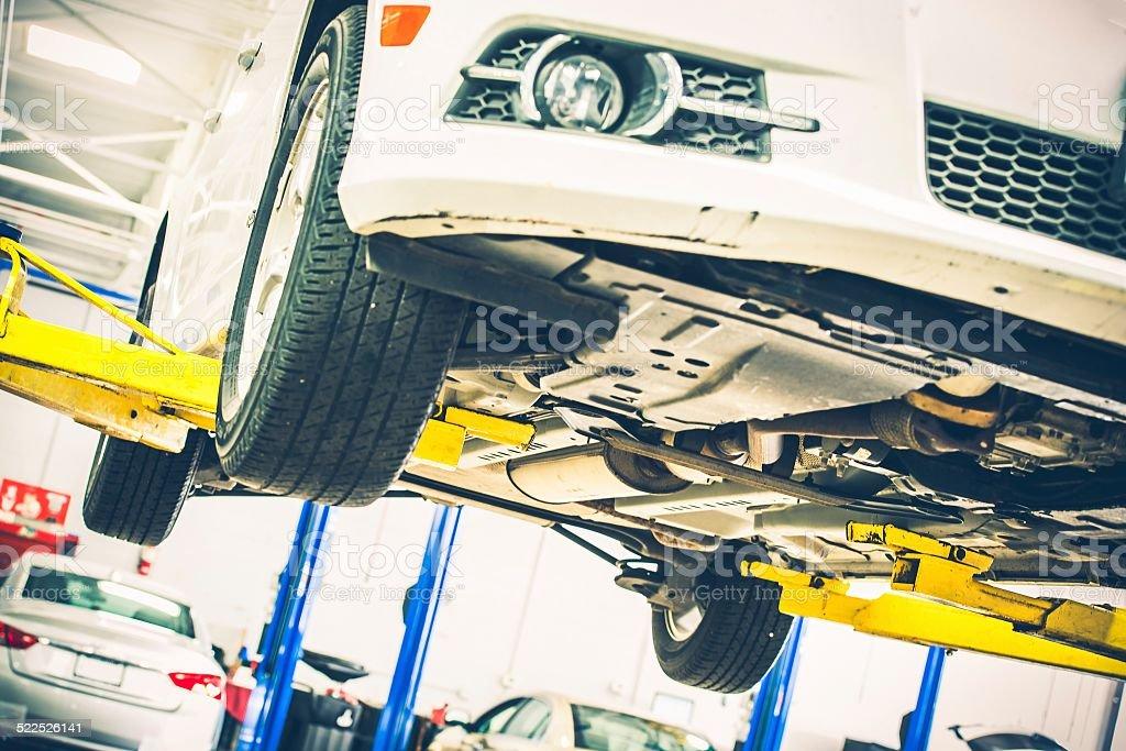 Lifted Car Maintenance stock photo