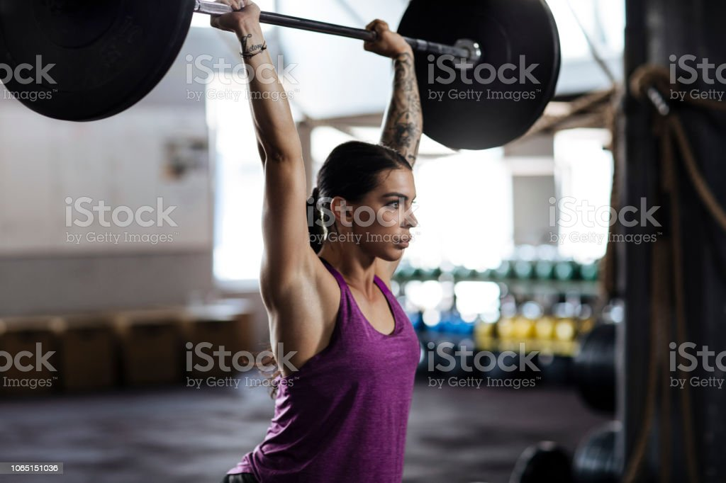 Lifting barbell stock photo