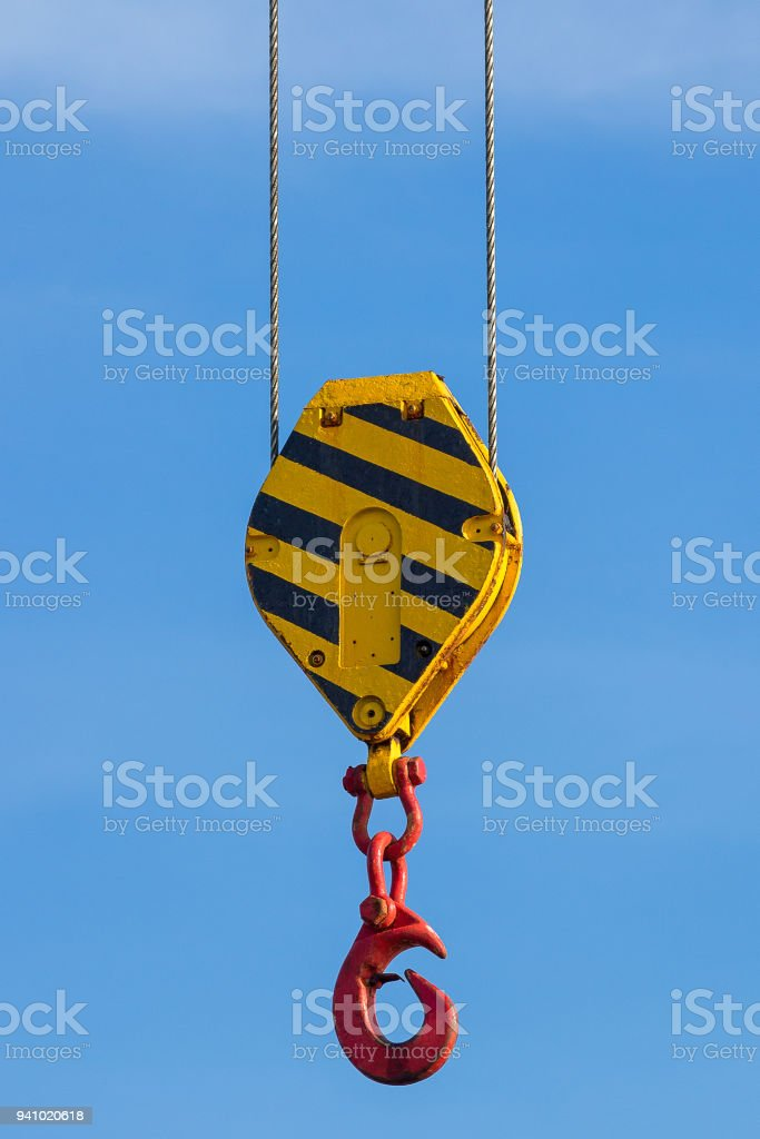 Lifting block with hook stock photo
