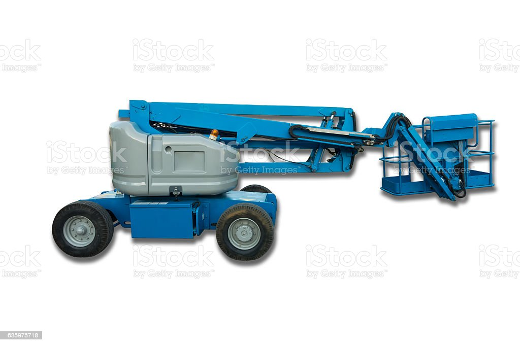 Lifting boom lift on isolation white background. stock photo
