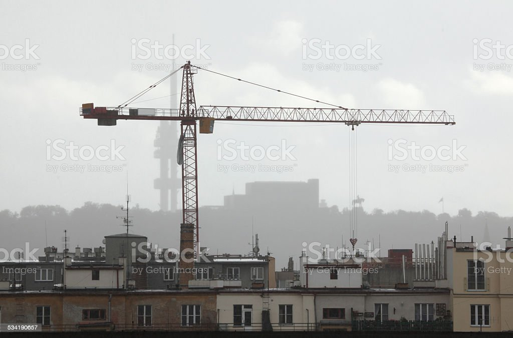 Lifting crane in Prague, Czech Republic. stock photo