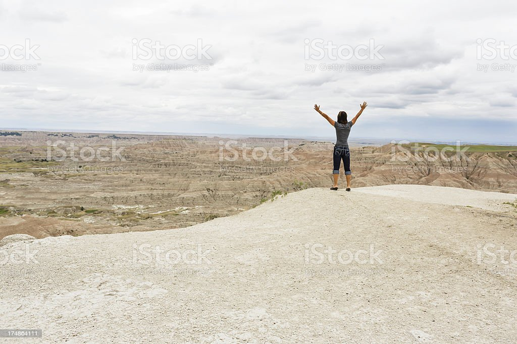 Lifting Hands with Praise on top of mountain royalty-free stock photo