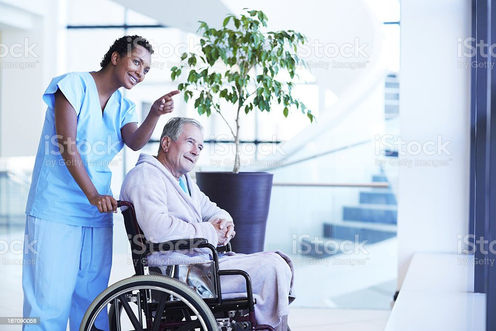 Lifting her patient's spirits royalty-free stock photo