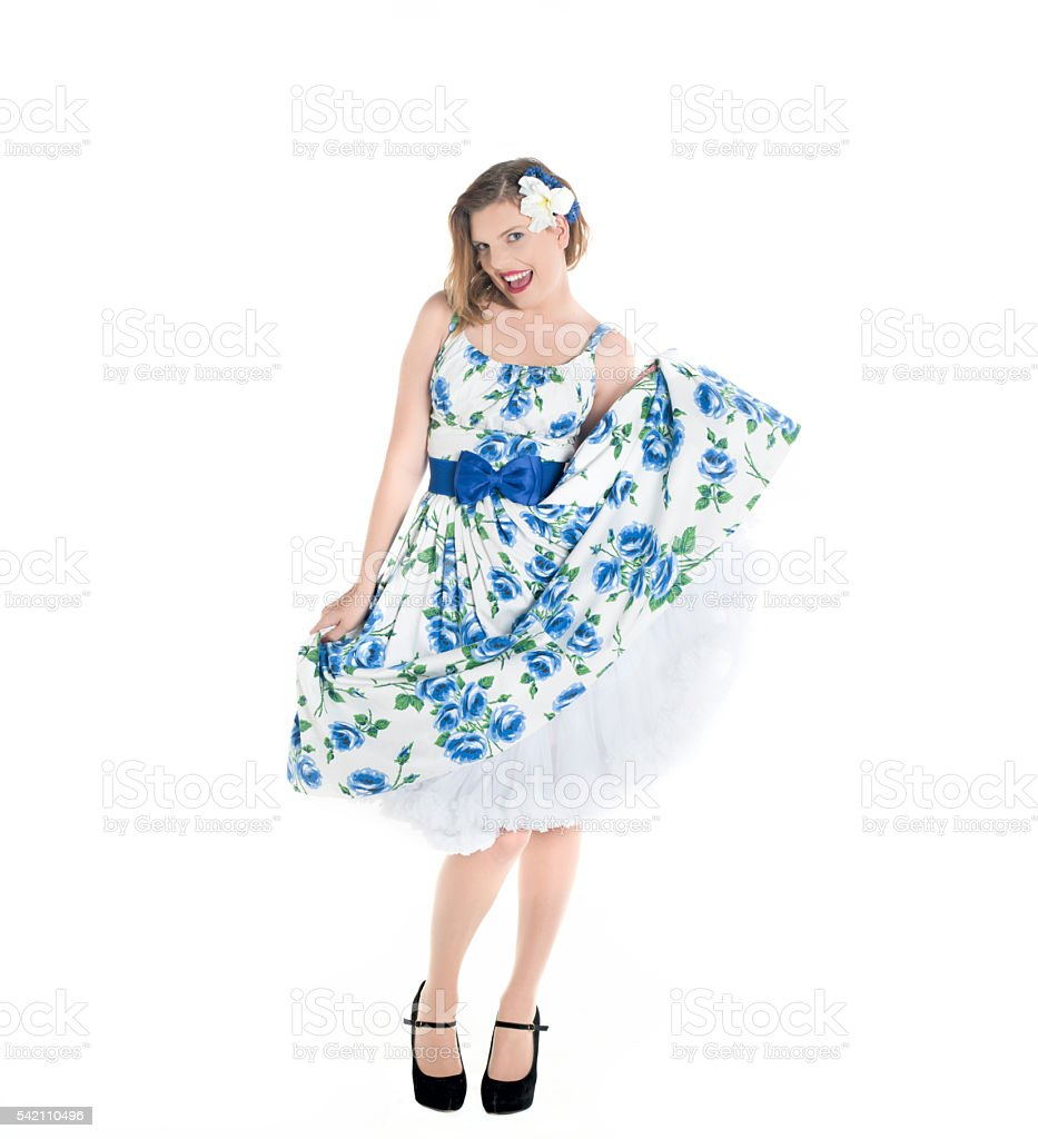 lifting one side of dress stock photo