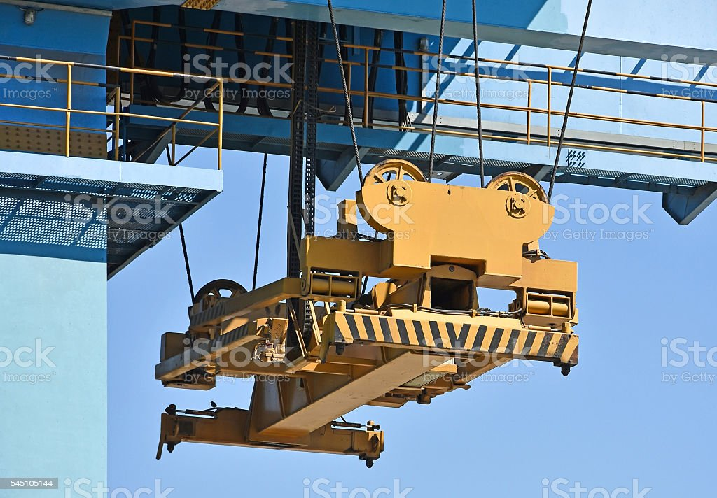 Lifting part of the container crane stock photo